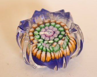 Elegant art glass intricate Milliefiori style paperweight