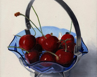"""Cherries in a blue glass bowl  Giclee Print 8""""x8"""" on paper"""
