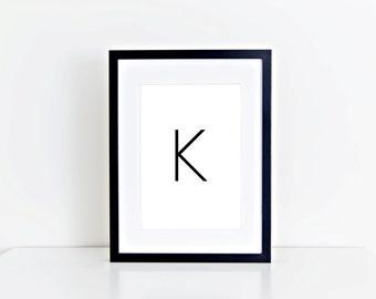 K Letter, Monogram, Home Decor, Alphabet, Typography, 8x10 Instant Download, Printable artwork, Digital Art, Printable Wall Art