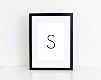 S Letter, Monogram, Home Decor, Alphabet, Typography, 8x10 Instant Download, Printable artwork, Digital Art, Printable Wall Art