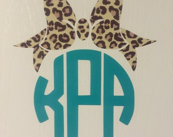 Leopard bow monogram for wall or Car
