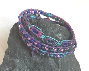 Purple triple wrap bracelet