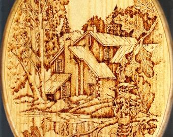 Hand Wood Burned Country Scene