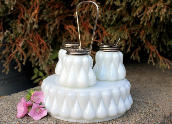 Milk Glass Condiment Set