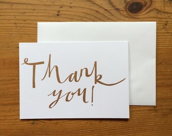 Thank You Letterpress Copper Greetings Card - Single Card or Pack of 5