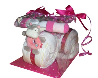 Diaper tricycle diaper cake with 44 brand diapers baptism birth