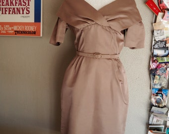 Vintage 1950s taupe silk dress