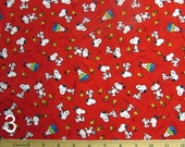 Peanuts Happiness is....Snoopy Red Fabric From Quilting Tresures