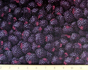 Fruit Realistic Blackberries Fabric