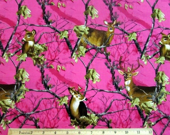 Real Tree Deer with Branches Fuschia Pink Camo Fabric From Sykel