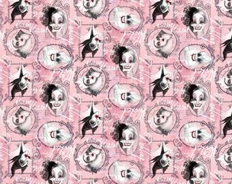 Disney's Villians Pink Fabric