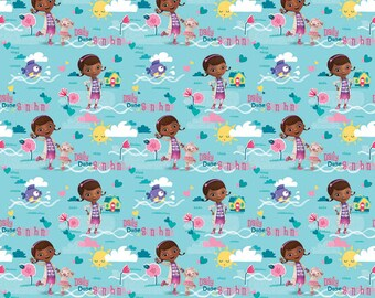 Doc McStuffins Daily Dose Blue Fabric