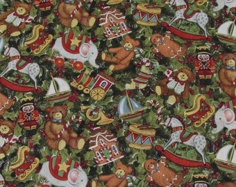 Packed Toys and Holly Christmas Fabric