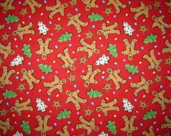 Christmas Cookies Gingerbread/Trees Fabric