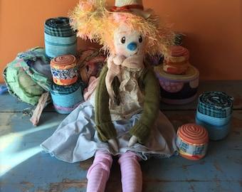 Orange Haired Ragdoll - Pretty Cottage Clown Doll - OOAK Soft Toy