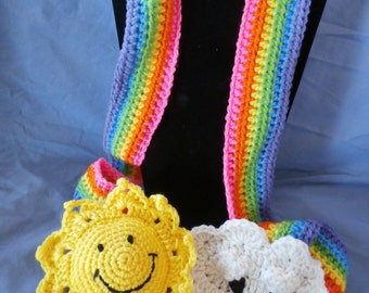 Hand Crocheted Rainbow Scarf 1 & 2