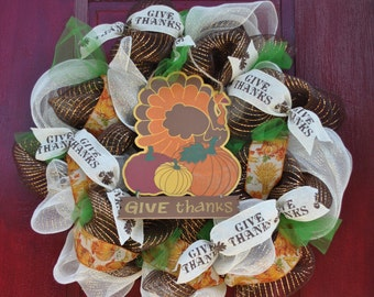 The Give Thanks - Thanksgiving Mesh Wreath