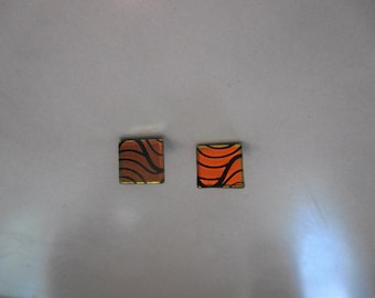 multicolor dichoric glass tile post earrings