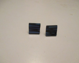 black and blue stripe dichoric glass tile earrings