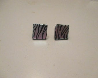 black and silver abstract dichoric glass tile earrings