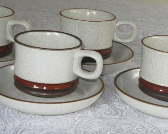 English Potters Wheel Denby Cup & Saucer Set (2)- CA 1970 Stoneware