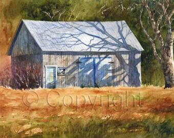 Giclée, watercolor, watercolor, barn, tree, barn, tree