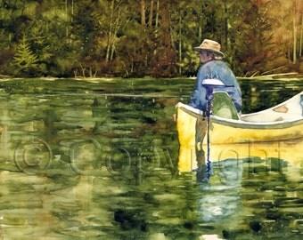 Giclée, watercolor, watercolor, Fisher, fisherman