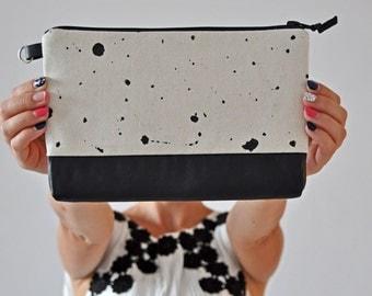 Cotton Handbag, Black and White Clutch, Leather Handbag