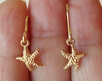 Sterling Silver 925 Stamped and Signed, Small Starfish Dangle Earrings