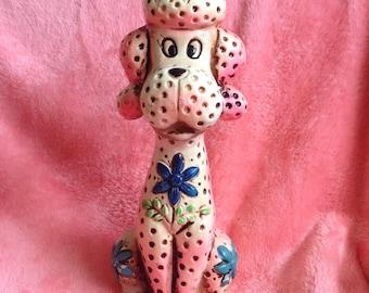 1960s Flourecent Pretty Pink Poodle piggy bank!