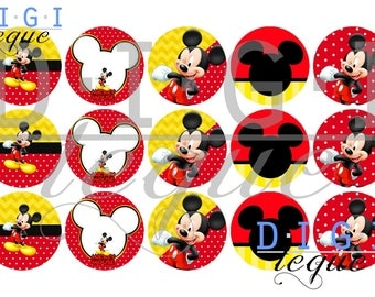 Mickey Mouse - 1 inch Bottle Cap Images 4x6 Printable Bottlecap Collage INSTANT DOWNLOAD