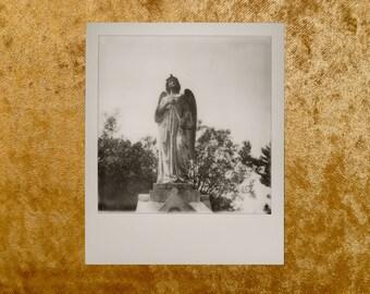 Original Black & White POLAROID 600 Photo - Grave - Cemetery - Graveyard - Angel