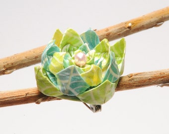 "Blue and green pastel ""Ripples"" origami lotus flower brooch"