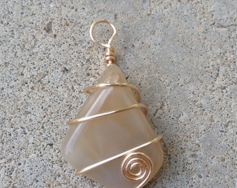 Wire Wrapped Moonstone Pendant - Unstrung Pendant