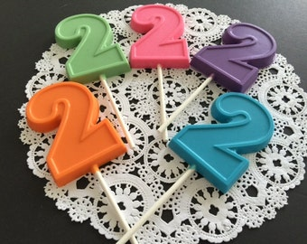 NUMBER TWO Chocolate Lollipops(12 qty) 2nd Birthday/Birthday Favors/ Number Two Lollipops/Party Favors/Kids Second Birthday/Second Birthday