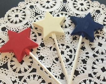 Star Chocolate Lollipops - Stars/Star Party Favors/Star Lollipops/Party Favors/Birthday Party