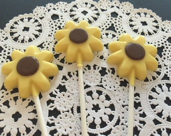 YELLOW FLOWER CHOCOLATE Lollipops (12 qty) - Flowers/Party Favors/Flower Garden Party Favors/Desert Table Candy/Flower Shower Favors