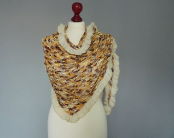 Hand knitted luxurious shawl, trimmed with mohair border