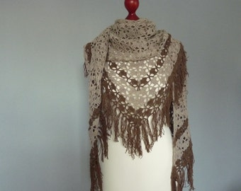 Lace crochet shawl, beige, brown
