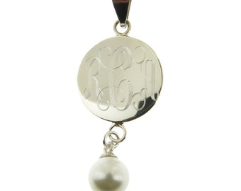 925 Sterling Silver Monogram Personalized Pendant with Freshwater Pearl Drop