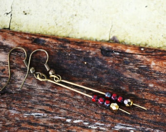 Simple Red and Brass Earrings