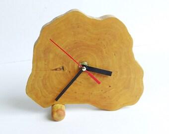 Clock, wood slice clock,wooden clock, desk clock, rustic clock, table clock (016)