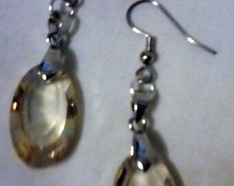Oval, Silver Earrings
