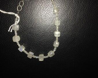 Mesmorizing rainbow moonstone and sterling silver bracelet