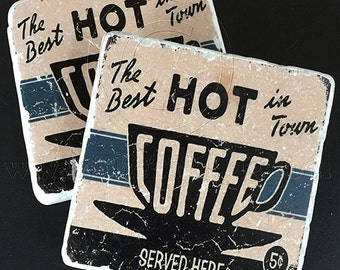 Hot Coffee Vintage Ad Coasters