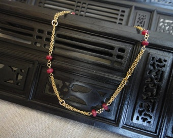 Ruby Anklet with 14K Gold Filled Chain