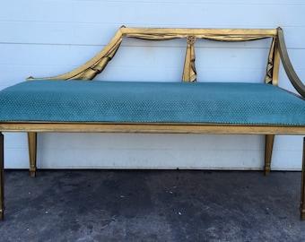 Hollywood Regency style Gold Gilt Drapery Design Bench