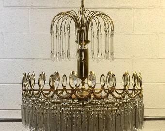Gaetano Sciolari style Brass Fountain Chandelier Italian Mid Century