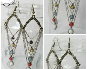 Vintage Color Dot Earrings