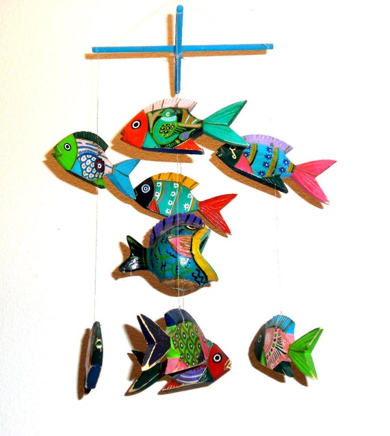 Mexican 9 fish mobile chime folk art wood handpainted festive for Mexico mobel